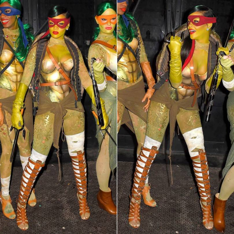 Rihanna dressed as Raphael from Teenage Mutant Ninja Turtles and wearing Altuzarra by Gianvito Rossi brown gladiator cage sandals