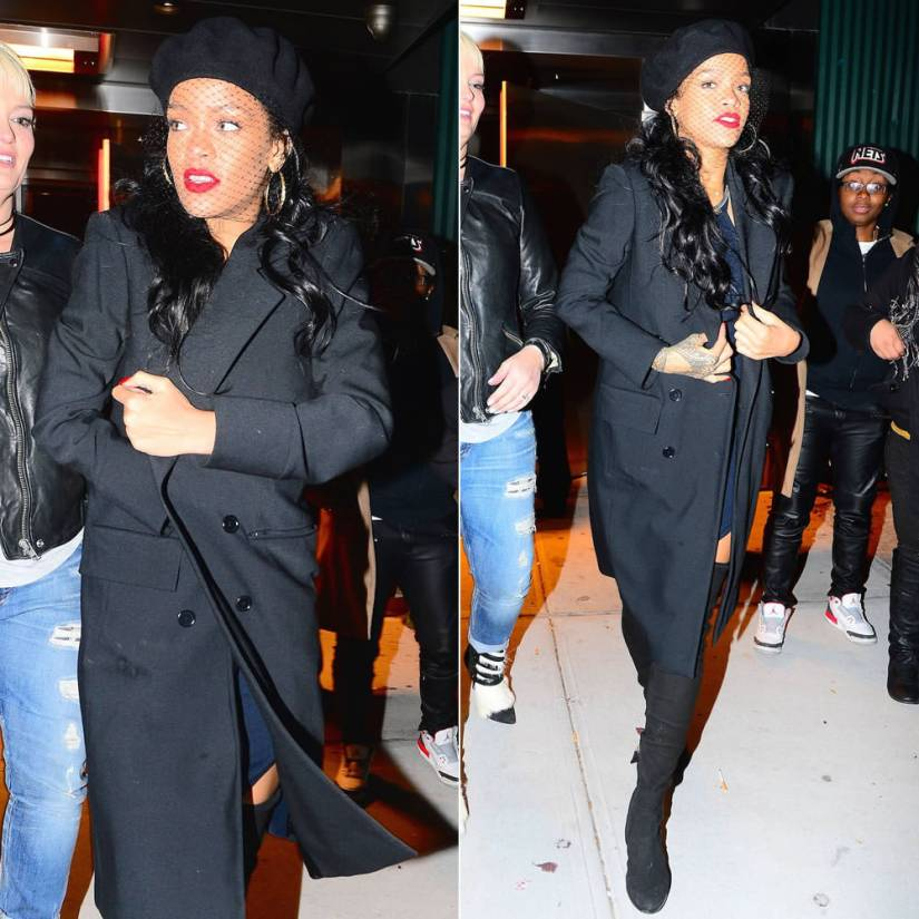 Rihanna in BLK DNM black double breasted crepe coat, Chanel black suede over-the-knee boots, Silver Spoon Attire beret with mesh veil