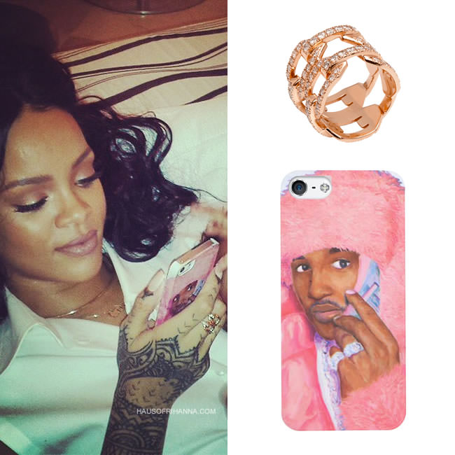 Rihanna wearing Jennifer Fisher charm choker and flat double chain link diamond ring and Dimepiece LA's Camron Real Men Wear Pink iPhone case