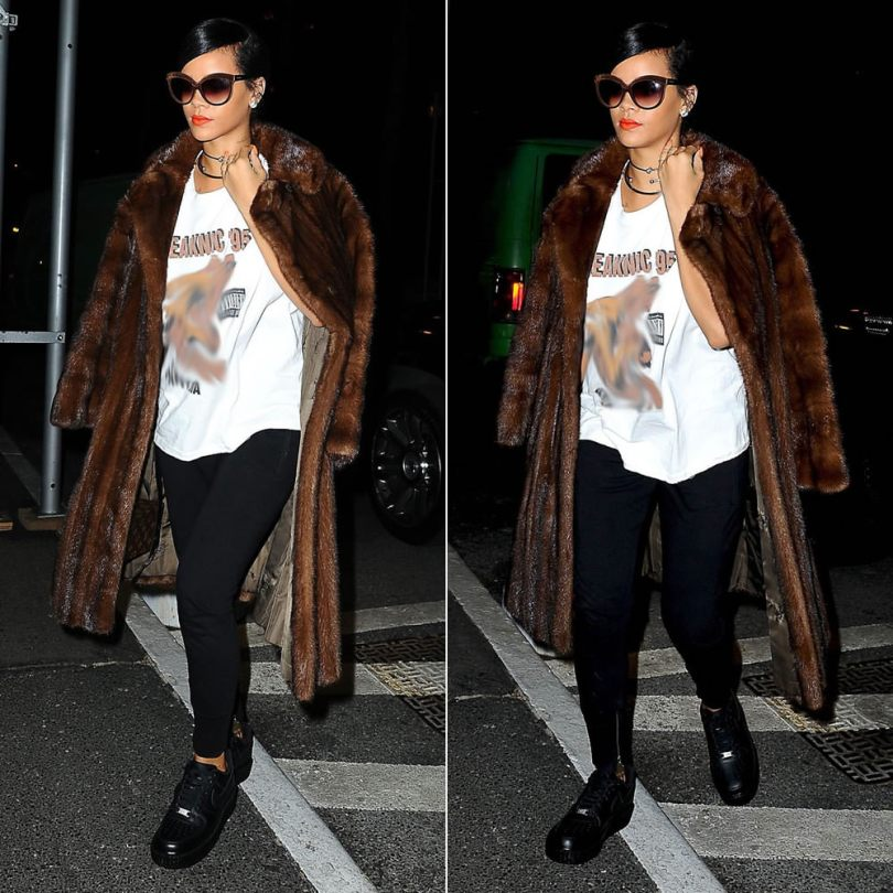 Rihanna wearing Italia Independent 0092V brown velvet sunglasses, Isabel Marant Tevy black ankle zip sweatpants, Mr Completely Creepy AF-1 black creeper shoes, Louis Vuitton Twisted Box bag, Jennifer Fisher silver chokers