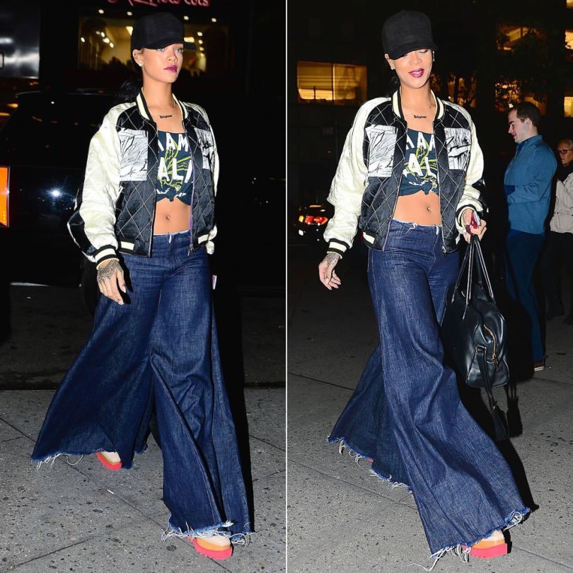 Rihanna wearing Givenchy black baseball cap, McQ by Alexander McQueen manga print jacket, Roots of Fight Muhammad Ali t-shirt, Marques'Almeida wide leg frayed jeans, Stella McCartney Britt platform shoes, Balmain Pierre handbag