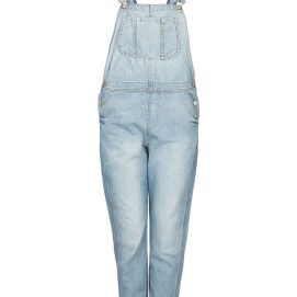 Topshop Moto bleach long leg denim overalls