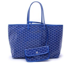 Goyard St. Louis tote in blue as seen on Rihanna