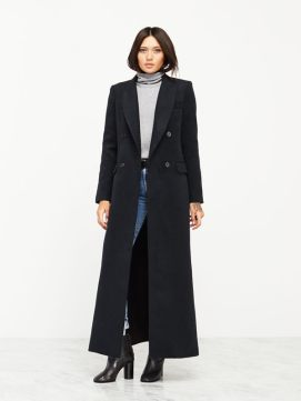 Reformation Orson coat in Miller as seen on Rihanna