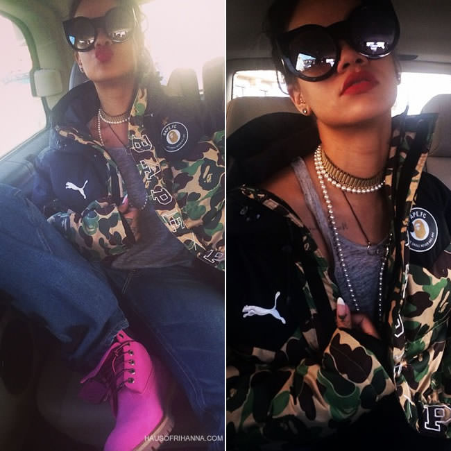 Rihanna in Wildfox Couture Granny black sunglasses, A Bathing Ape x Puma camo jacket, Tu Es Mon Tresor bow boyfriend jeans, Timberland x Susan G Komen pink boots, Inez and Vinoodh leather necklace