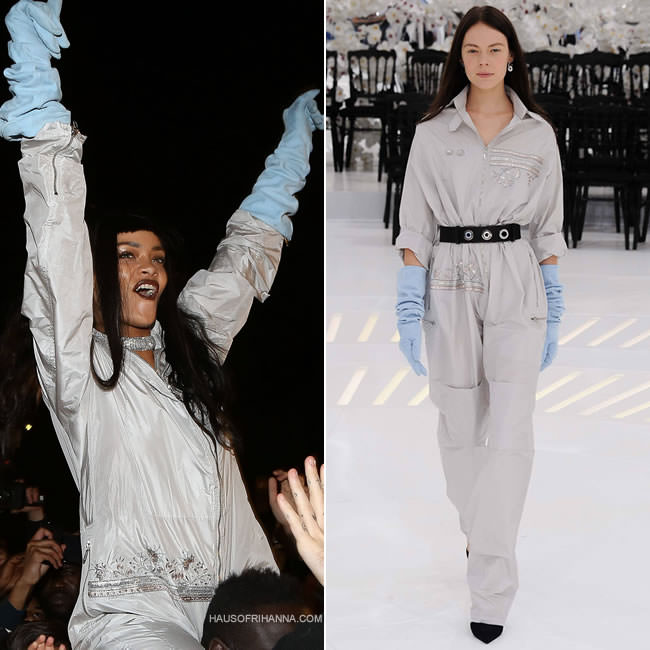 Rihanna in Dior Fall 2014 couture jumpsuit and blue gloves