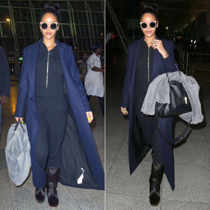 Rihanna wearing Stella McCartney flat cat eye sunglasses, Reformation Orson coat, DKNY by Cara Delevigne hooded jumpsuit, Annoushka earrings