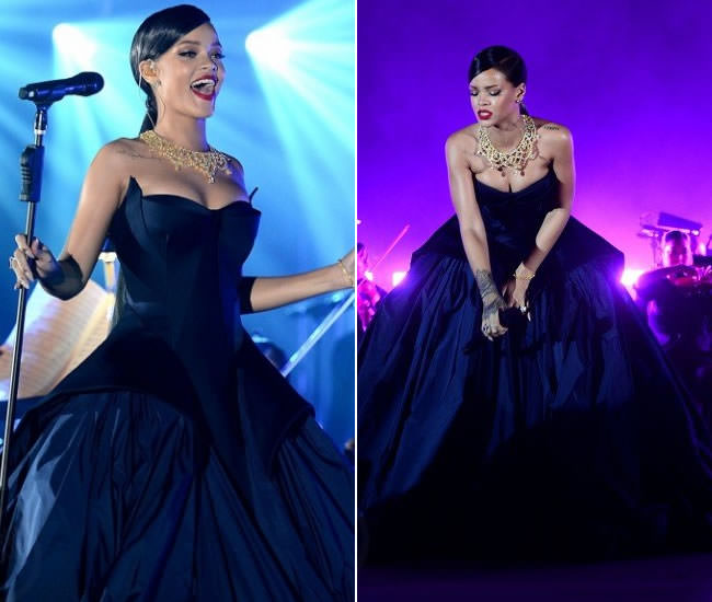 Rihanna at the 2014 Diamond Ball in Zac Posen Resort 2015 navy gown