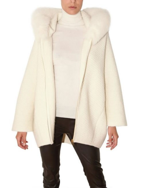 Saint Laurent mohair knit cardigan with fox fur collar as seen on Rihanna