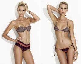 Charlie by Matthew Zink Rita and Charlie bikinis in mixed cocoa stripe/copper stripe as seen on Rihanna