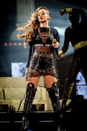 Rihanna wearing Givenchy couture costume during Diamonds World Tour