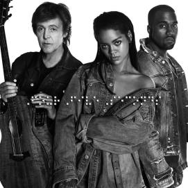 Rihanna wearing vintage denim shirt and Xiao Wang Diamond Elements chain necklace on FourFiveSeconds single cover