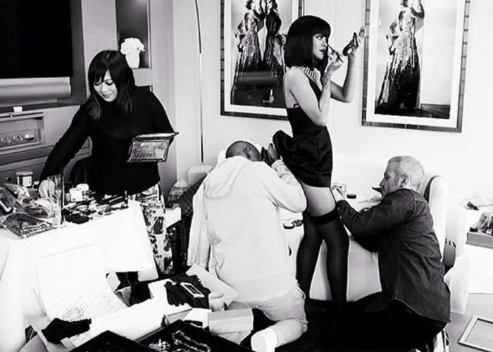 Rihanna getting dressed with stylist Mel Ottenberg