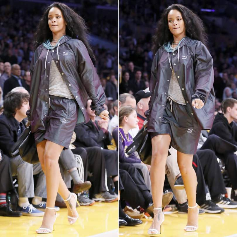 Rihanna wearing Puma hooded snap button jacket and grey shorts, Tom Ford white ankle strap sandals, Givenchy large pyramid pouch, handbag, Jacquie Aiche gemstone ring, crescent necklace and diamond anklet
