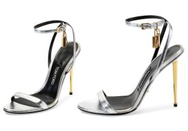 Tom Ford simple ankle-strap sandals as seen on Rihanna