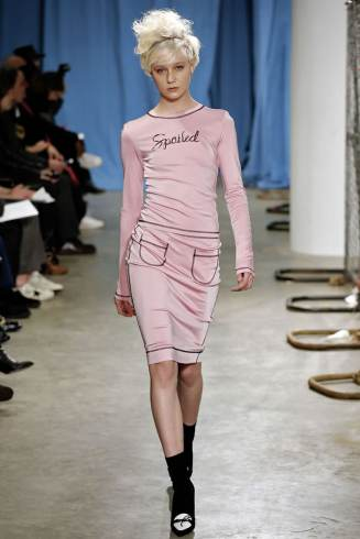 Adam Selman Fall 2015 pink Spoiled top and skirt as seen on Rihanna