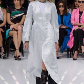 Christian Dior Spring 2015 white silk coat as seen on Rihanna