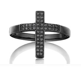 Lynn Ban black rhodium and black diamond cross ring as seen on Rihanna