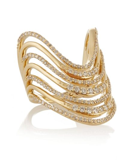 Lynn Ban Crest pavé diamond ring in yellow gold as seen on Rihanna