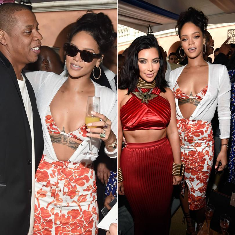 Rihanna in Celine Frida havana sunglasses, Altuzarra Spring 2015 white cardigan and floral print skirt, Dsquared2 pre-fall 2015 python ankle-wrap sandals, Suzanne Kalan hoop earrings, Xiao Wang rings, Jacquie Aiche cuffs, Michelle Fantaci Pawn cuff, Nora Kogan Matchstick cuff