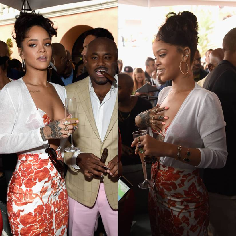 Rihanna in Celine Frida havana sunglasses, Altuzarra Spring 2015 white cardigan and floral print skirt, Dsquared2 pre-fall 2015 python ankle-wrap sandals, Suzanne Kalan hoop earrings, Xiao Wang rings, Jacquie Aiche cuffs, Michelle Fantaci Pawn cuff, Nora Kogan Matchstick cuff, Colette Savute and Garras ear cuffs, Jack Vartanian ring, Ivy New York rings