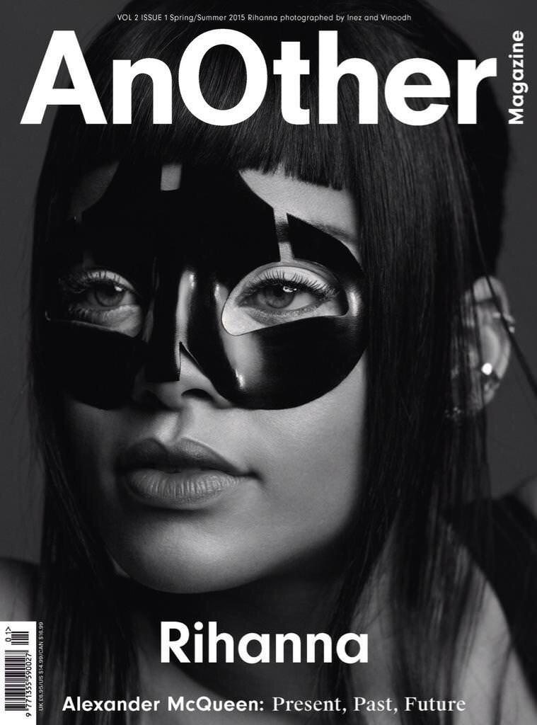 Rihanna on the cover of AnOther magazine Spring 2015 issue wearing Alexander McQueen mask