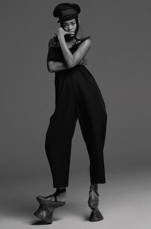 Rihanna wearing Yohji Yamamoto dungarees and wool cap in AnOther magazine