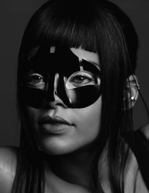 Rihanna wearing Alexander McQueen black mask in AnOther magazine Spring 2015 issue
