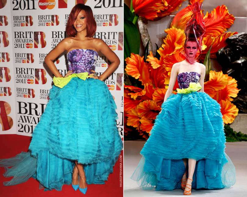 Rihanna at the 2011 Brit Awards in Christian Dior Fall 2010 couture dress by John Galliano and Christian Louboutin patent blue pointed toe pumps