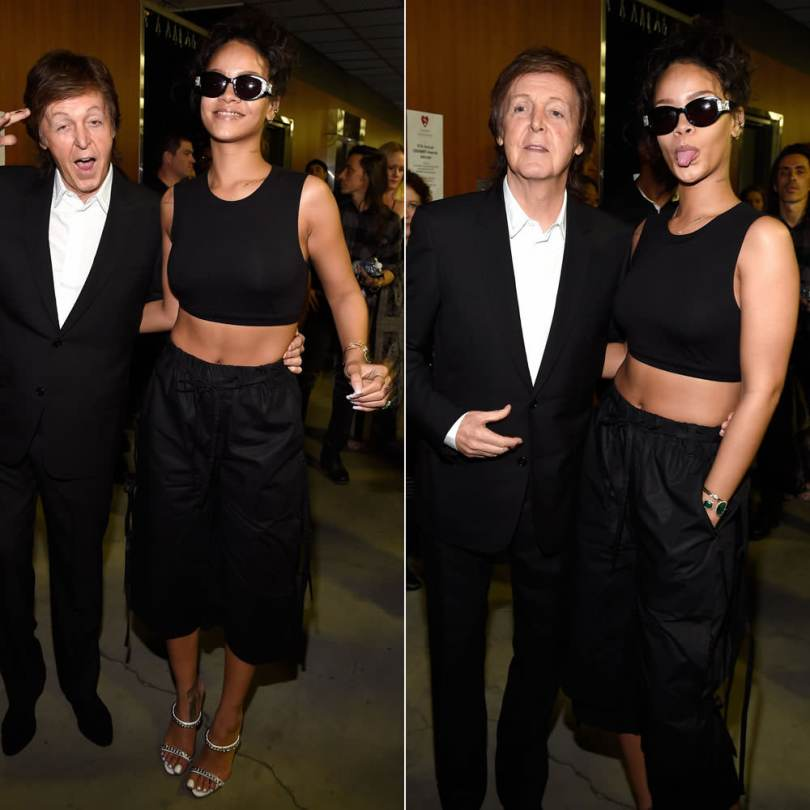 Rihanna wearing Jean Paul Gaultier vintage black sunglasses, Craig Green Spring 2015 black pants, Giuseppe Zanotti chain-trimmed mule sandals, Jacquie Aiche emerald cuff