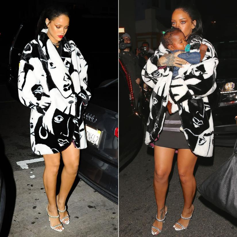 Rihanna wearing Donnybrook vintage faux fur face print coat, Trapstar satin hockey t-shirt, Giuseppe Zanotti chain-trimmed mule sandals, Jennifer Fisher silver chokers