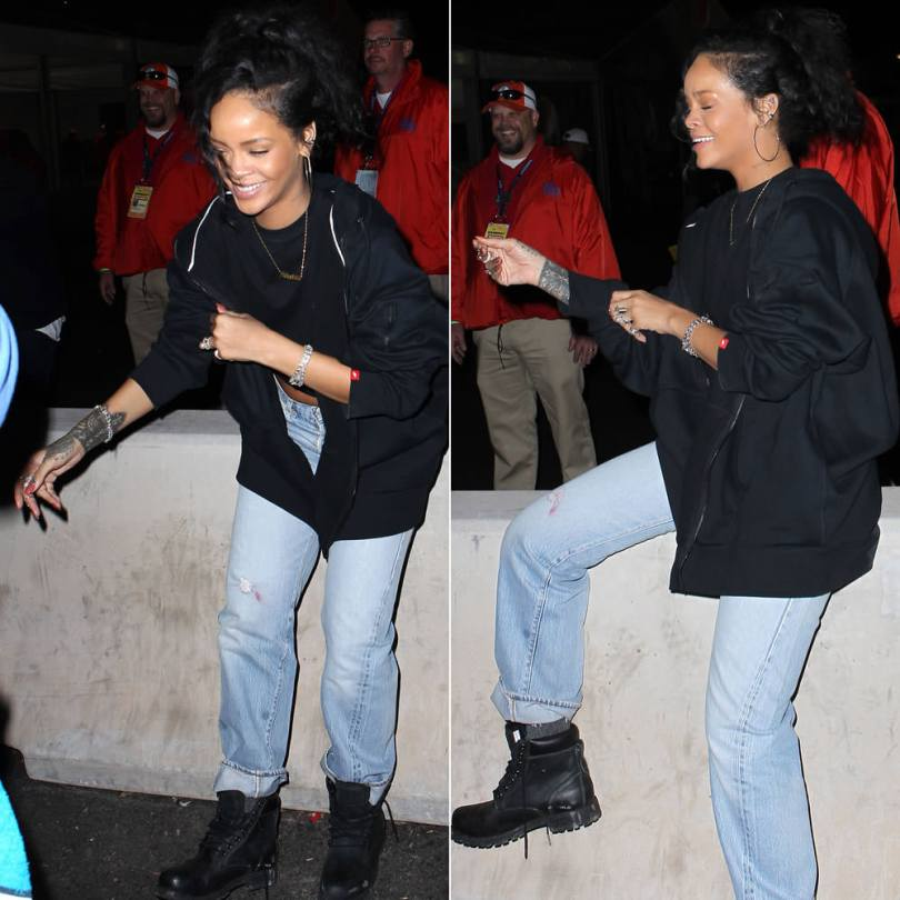 Rihanna in Nike AW77 fleece full-zip hoodie, Timerland Earthkeepers black boots