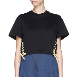 Toga Archives bow side lace-up crop tee as seen on Rihanna