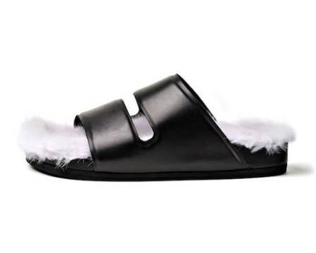 Céline fur slides as seen on Rihanna
