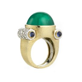 David Webb Machine Age III diamond, sapphire, and emerald ring as seen on Rihanna