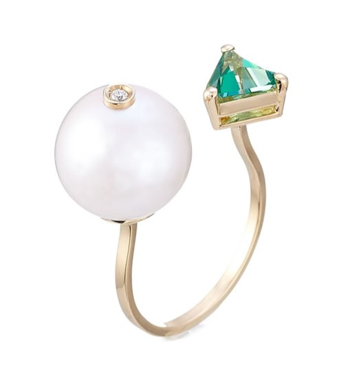 Delfina Delettrez 18k yellow gold ring with pearl, topaz and diamond as seen on Rihanna