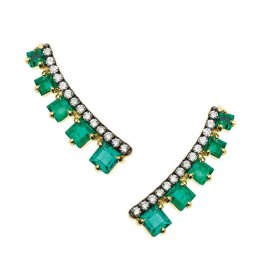 Jemma Wynne emerald and pavé diamond ear cuffs as seen on Rihanna