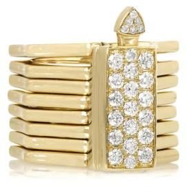 Lynn Ban 14k yellow gold and white diamond Reverso convertible ring as seen on Rihanna