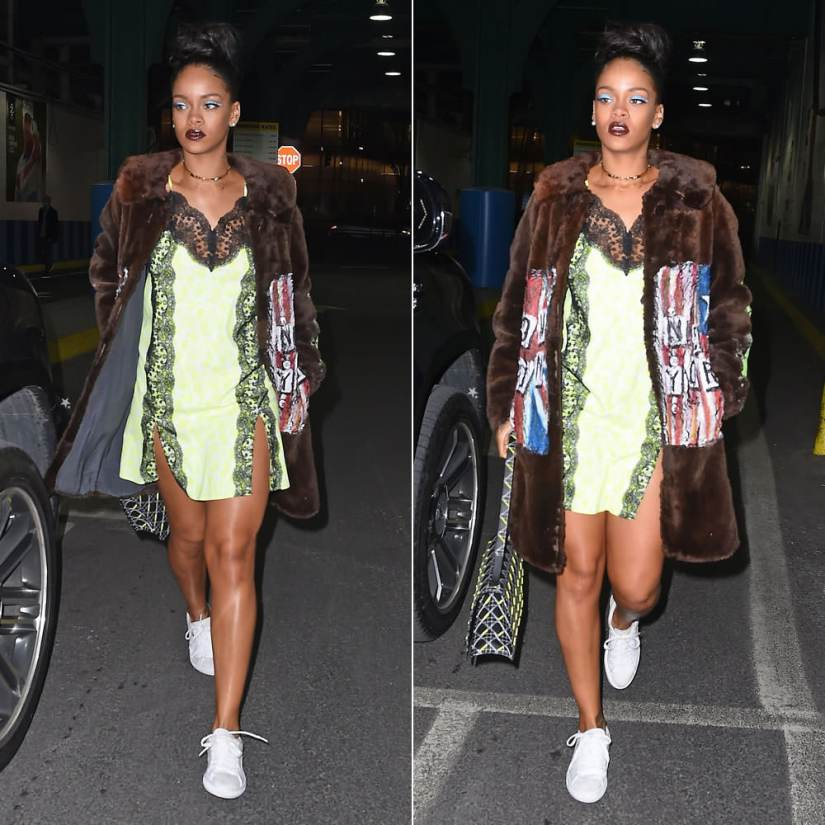 Rihanna wearing Christopher Kane neon yellow floral print lace panel dress, Jennifer Fisher ribbon knot choker, Dior Diorama handbag, Puma Basket Classic white sneakers, I Love DIY by Panida painted fur coat