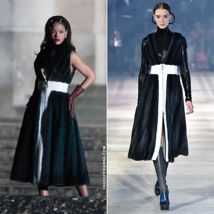 Rihanna wearing Dior Pre-Fall 2015 blue, black and white Pre-Fall 2015 fur coat at Versailles in Paris