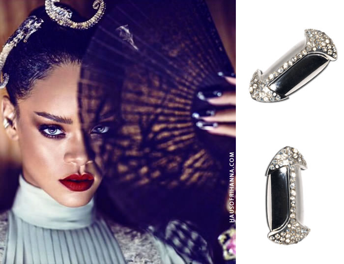 Rihanna wearing H & H Swarovski crystal black metal arrow nails in Harper's Bazaar China April 2015 issue