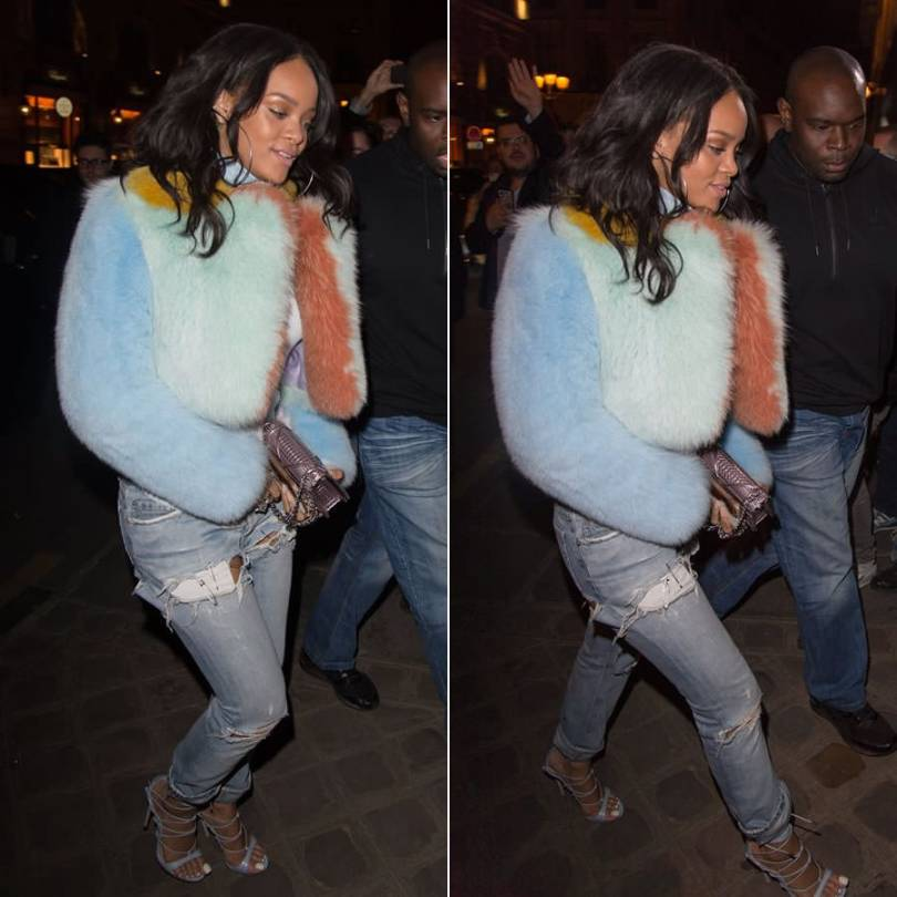 Rihanna wearing MaryMe-JimmyPaul furry maribou feather multicoloured cropped jacket, Jennifer Fisher silver chokers, vintage Helmut Lange ripped jeans, Dsquared2 strappy python sandals, Dior Diorama metallic clutch