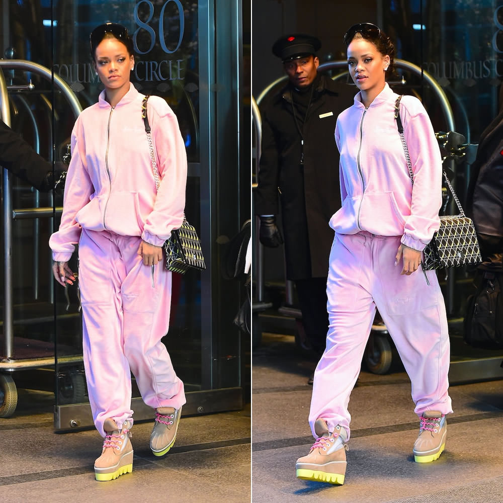 0d67bc3fa86 ... on Good Morning America and on Snapchat, Rihanna was photographed out  and about New York City. The singer wore a pink velour tracksuit by Sean  John.