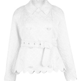 Simone Rocha white brocade jacket with scalloped trim as seen on Rihanna