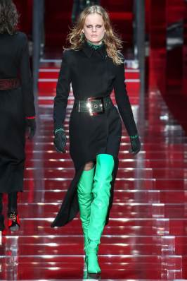 Versace Fall 2015 green and black boots as seen on Rihanna