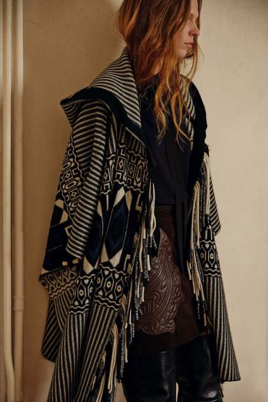 Chloé Pre-Fall 2015 fringed striped hooded poncho as seen on Rihanna