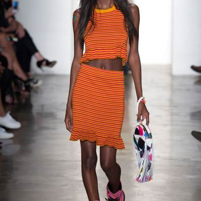 Jeremy Scott Spring 2015 ruffle knit stripe crop top and skirt as seen on Rihanna