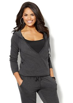 New York & Company faux-wrap hoodie in graphite heather grey as seen on Rihanna
