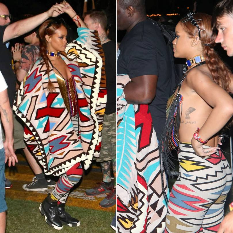 Rihanna at Coachella music festival 2015 wearing KTZ Fall 2015 tribal print jacket and leggings, Balenciaga marble sole Unit biker boots