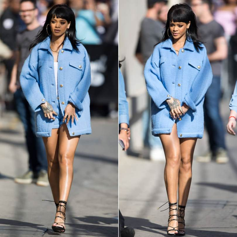Rihanna wearing custom Moschino Pre-Fall 2015 pastel blue jacket and shorts, Dsquared2 Pre-Fall 2015 black python sandals, Ruby Stella gold and diamond rings